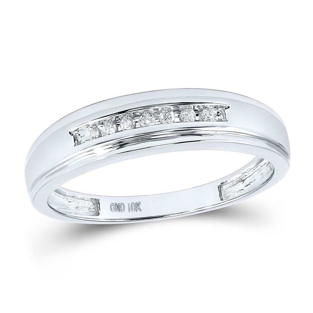 14kt White Gold Mens Round Diamond Wedding Band Ring 1/12 Cttw