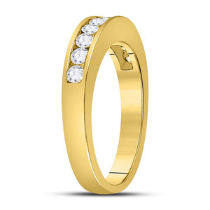 14kt Yellow Gold Womens Round Diamond Wedding Channel Set Band 1/2 Cttw Size 5