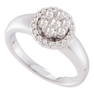 14kt White Gold Womens Round Diamond Circle Frame Flower Cluster Ring 1/2 Cttw