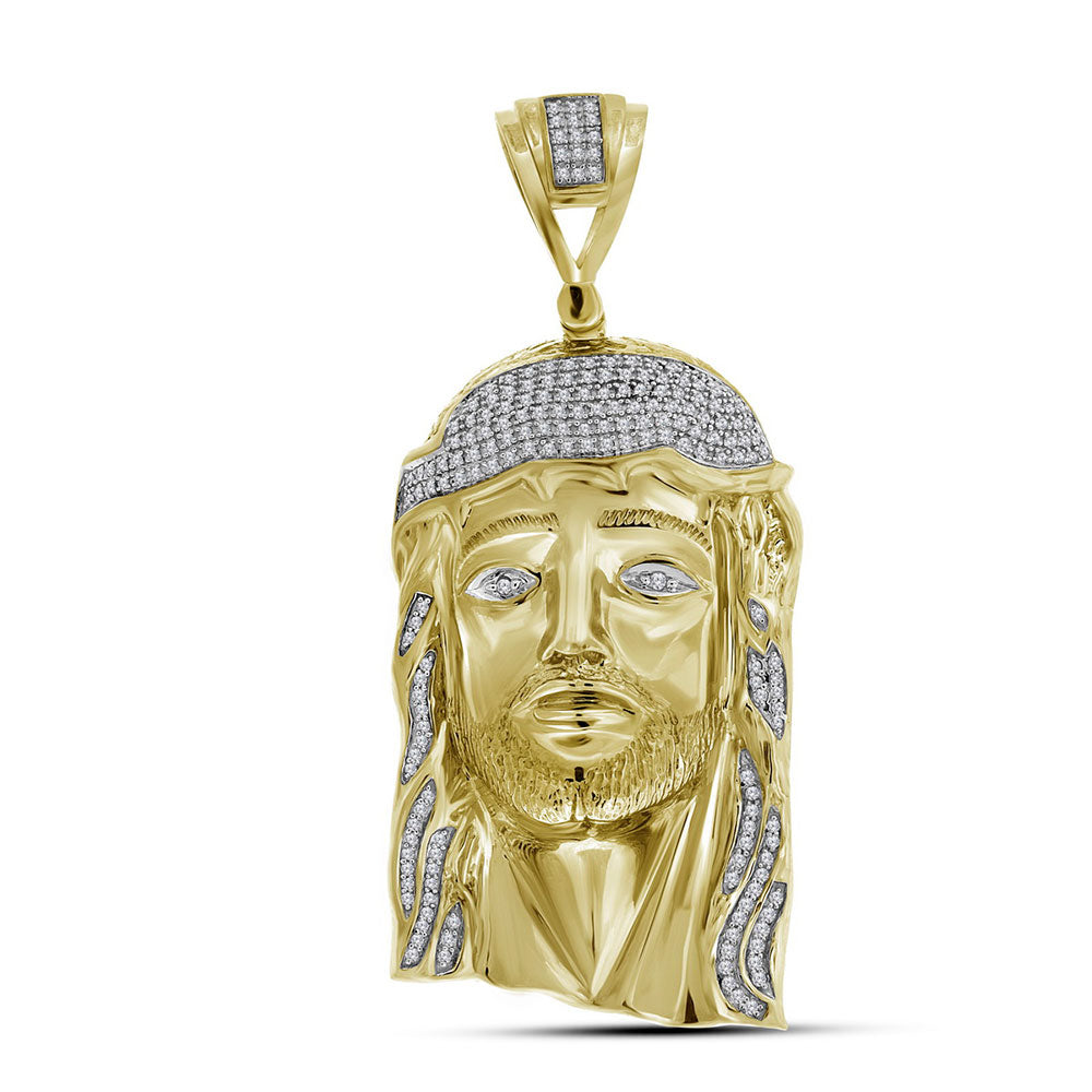 10kt Yellow Gold Mens Round Diamond Jesus Face Charm Pendant 7/8 Cttw