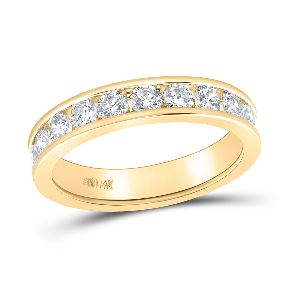 14kt Yellow Gold Womens Round Diamond Wedding Band 1 Cttw