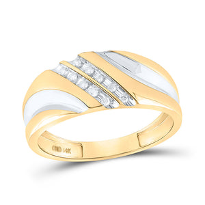14kt Yellow Gold Mens Round Diamond Wedding Band Ring 1/8 Cttw
