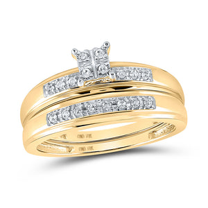 10kt Yellow Gold His Hers Round Diamond Cluster Matching Wedding Set 1/5 Cttw