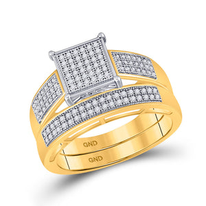10kt Yellow Gold His Hers Round Diamond Square Matching Wedding Set 5/8 Cttw