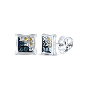 10kt White Gold Mens Round Blue Yellow Color Enhanced Diamond Square Kite Earrings 1/20 Cttw