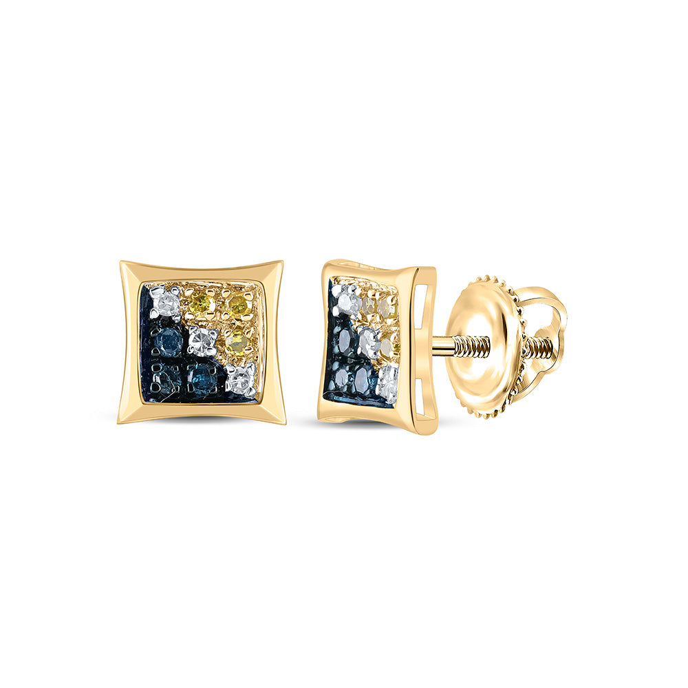 10kt Yellow Gold Mens Round Blue Color Enhanced Diamond Square Kite Earrings 1/20 Cttw