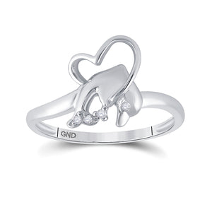 10kt White Gold Womens Round Diamond Dolphin Ring .02 Cttw