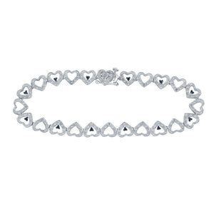 Sterling Silver Womens Round Black Color Enhanced Diamond Heart Link Bracelet 1/5 Cttw
