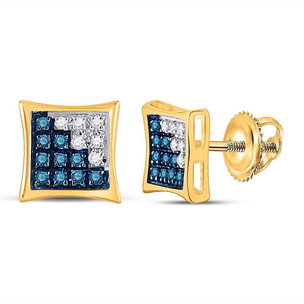 10kt Yellow Gold Mens Round Blue Color Enhanced Diamond Square Earrings 1/10 Cttw
