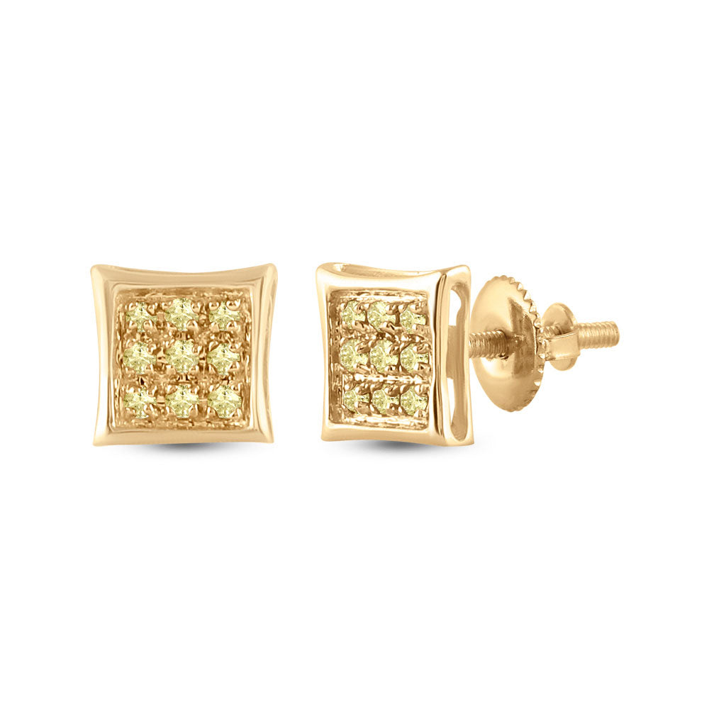 10kt Yellow Gold Mens Round Yellow Color Enhanced Diamond Square Earrings 1/20 Cttw
