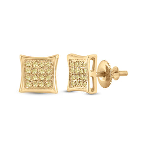 10kt Yellow Gold Mens Round Yellow Color Enhanced Diamond Square Earrings 1/10 Cttw