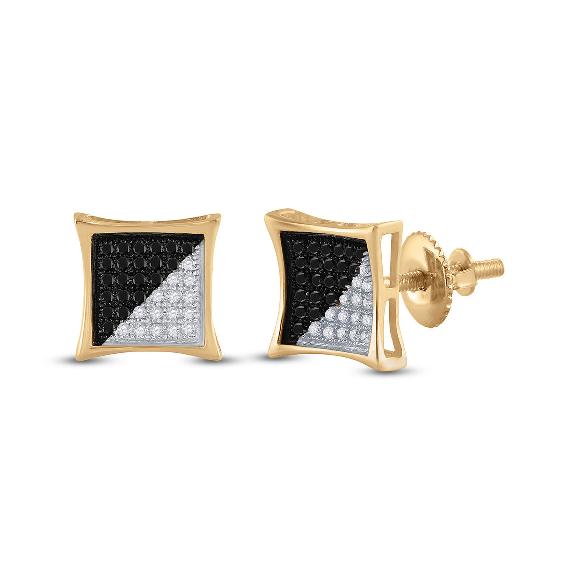 10kt Yellow Gold Mens Round Black Color Enhanced Diamond Square Earrings 1/4 Cttw