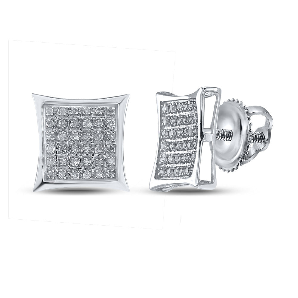 Sterling Silver Mens Round Diamond Kite Square Earrings 1/4 Cttw