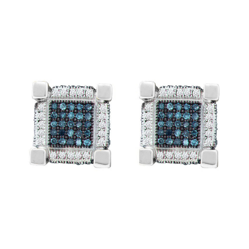 10kt White Gold Mens Round Blue Color Enhanced Diamond 3D Cube Square Earrings 3/4 Cttw
