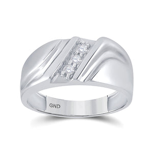 10kt White Gold Mens Round Diamond Wedding Single Row Band Ring 1/10 Cttw