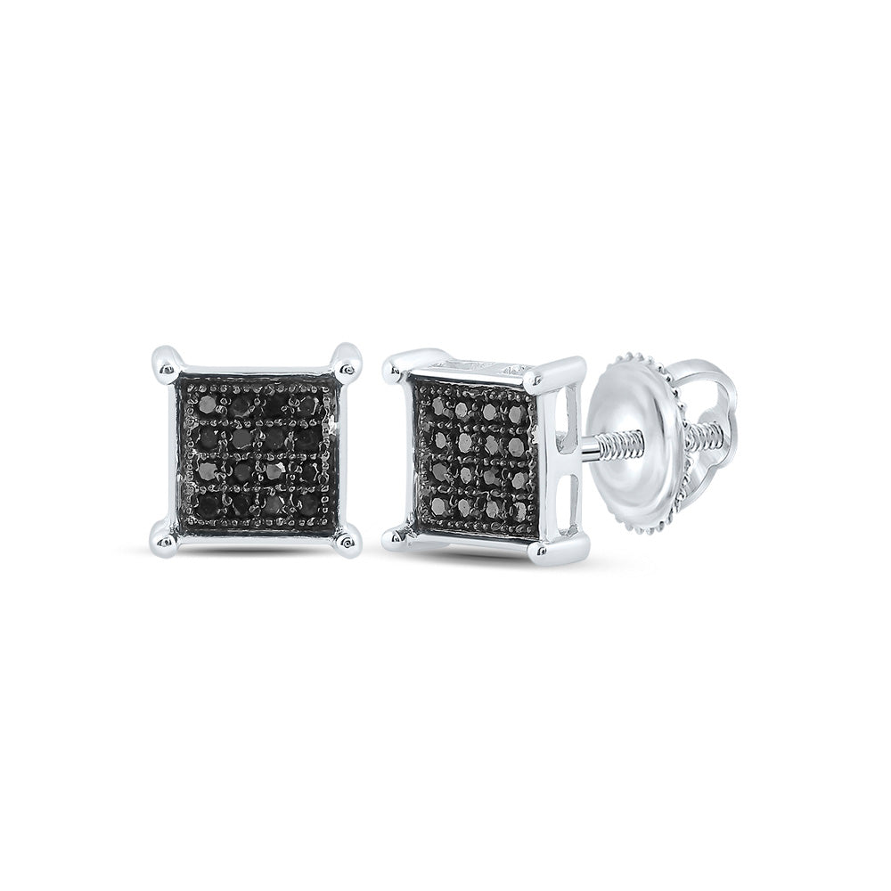 Sterling Silver Mens Round Black Color Enhanced Diamond Square Cluster Earrings 1/10 Cttw