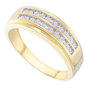 14kt Yellow Gold Mens Round Diamond Wedding 2-Row Band Ring 1/4 Cttw