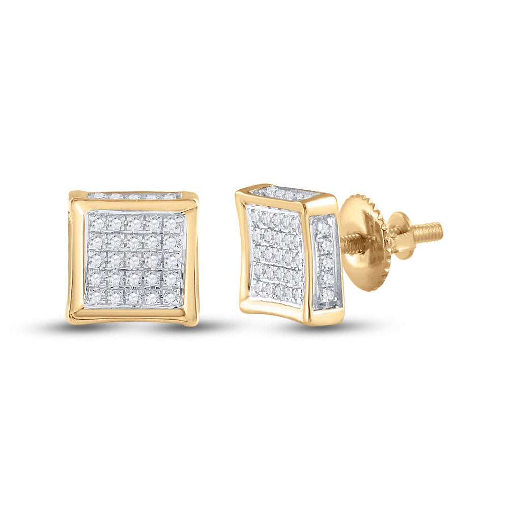 10kt Yellow Gold Mens Round Diamond Square Earrings 1/8 Cttw