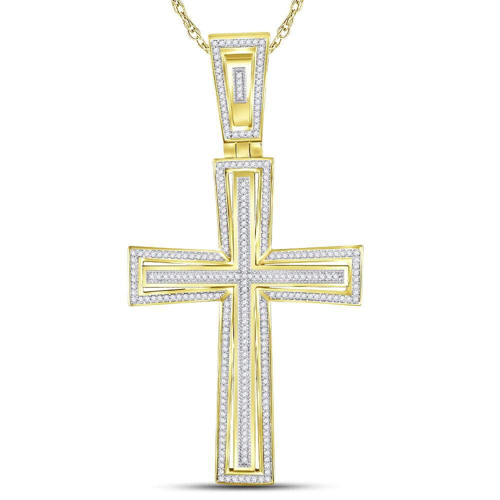 10kt Yellow Gold Mens Round Diamond Cross Charm Pendant 3/4 Cttw