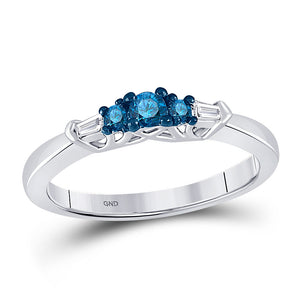 10kt White Gold Womens Round Blue Color Enhanced Diamond 3-stone Bridal Wedding Ring 1/4 Cttw