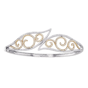 10kt Two-tone Gold Womens Round Diamond Curl Bangle Bracelet 1-5/8 Cttw