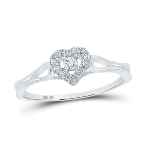 10kt White Gold Womens Round Diamond Heart Promise Ring 1/8 Cttw