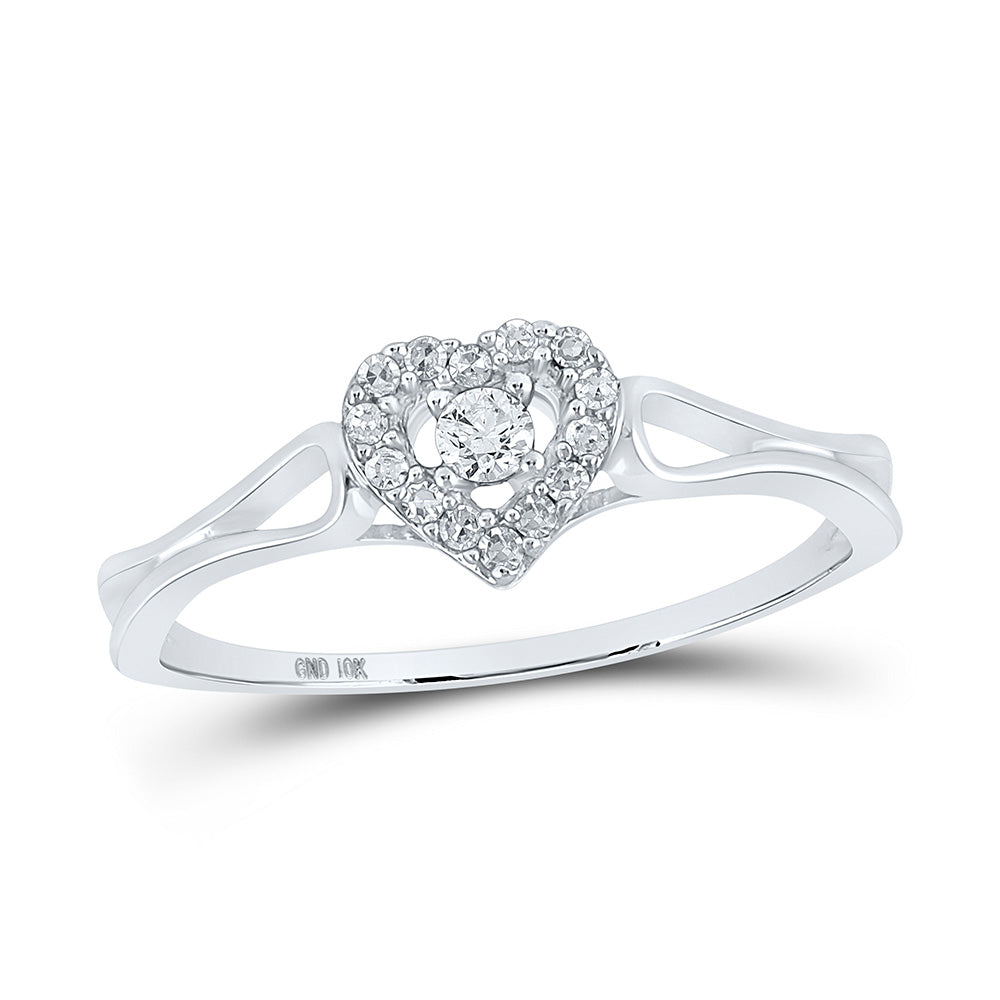 10kt White Gold Womens Round Diamond Heart Promise Bridal Ring 1/8 Cttw