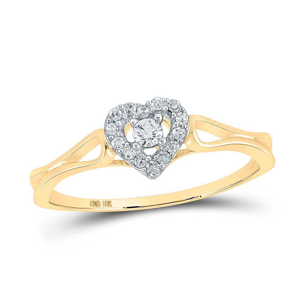 10kt Yellow Gold Womens Round Diamond Heart Promise Ring 1/8 Cttw