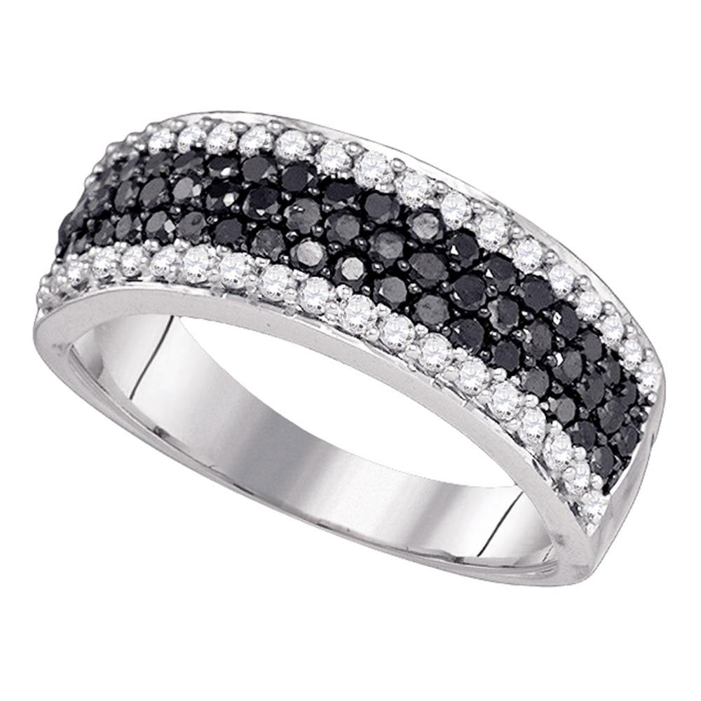 10k White Gold Womens Black Color Enhanced Diamond Striped Cocktail Band Ring 1.00 Cttw
