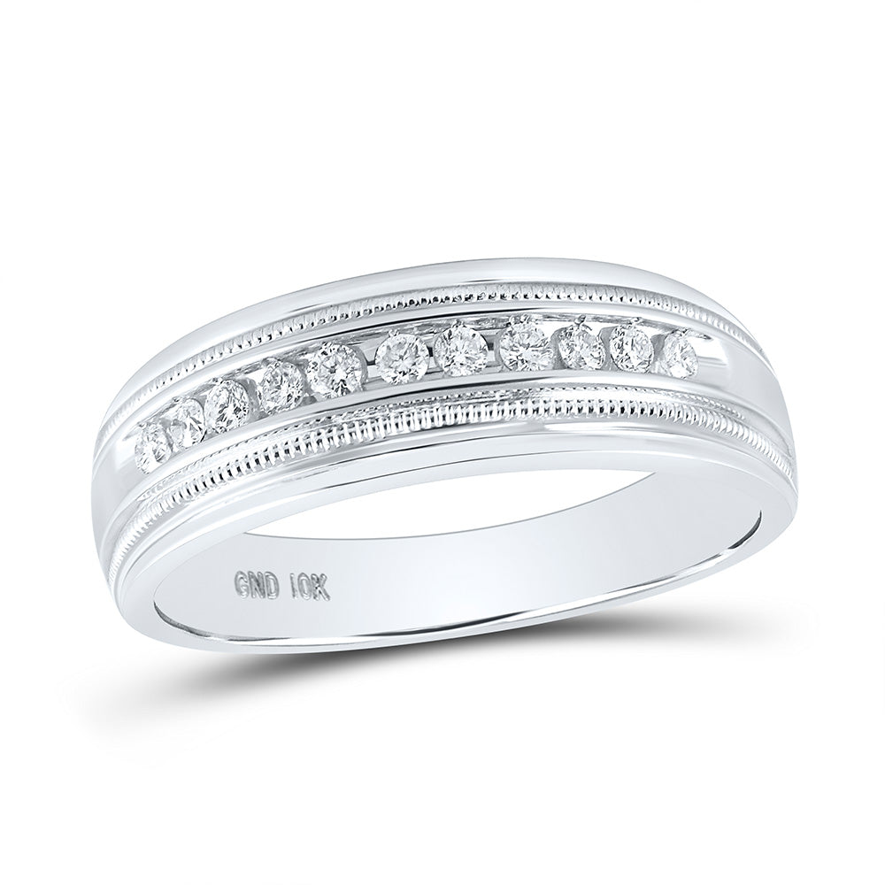 10kt White Gold Mens Round Diamond Wedding Single Row Band Ring 1/4 Cttw