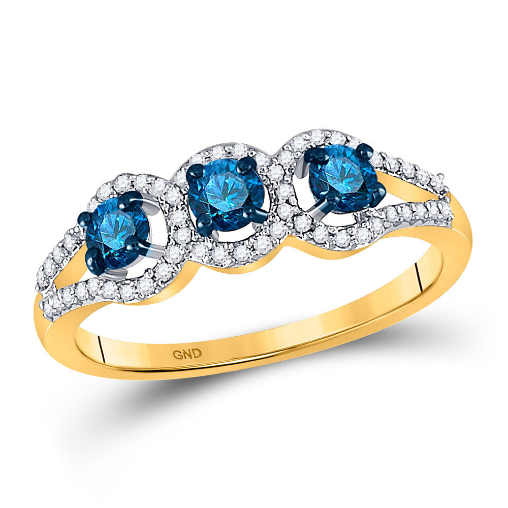 10kt Yellow Gold Womens Round Blue Color Enhanced Diamond 3-stone Bridal Wedding Ring 5/8 Cttw
