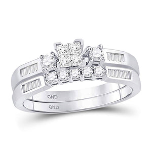 10kt White Gold Womens Princess Diamond Bridal Wedding Engagement Ring Band Set 3/8 Cttw
