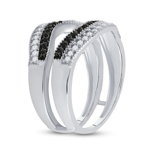 10kt White Gold Womens Round Black Color Enhanced Diamond Wrap Ring Guard Enhancer 1/2 Cttw