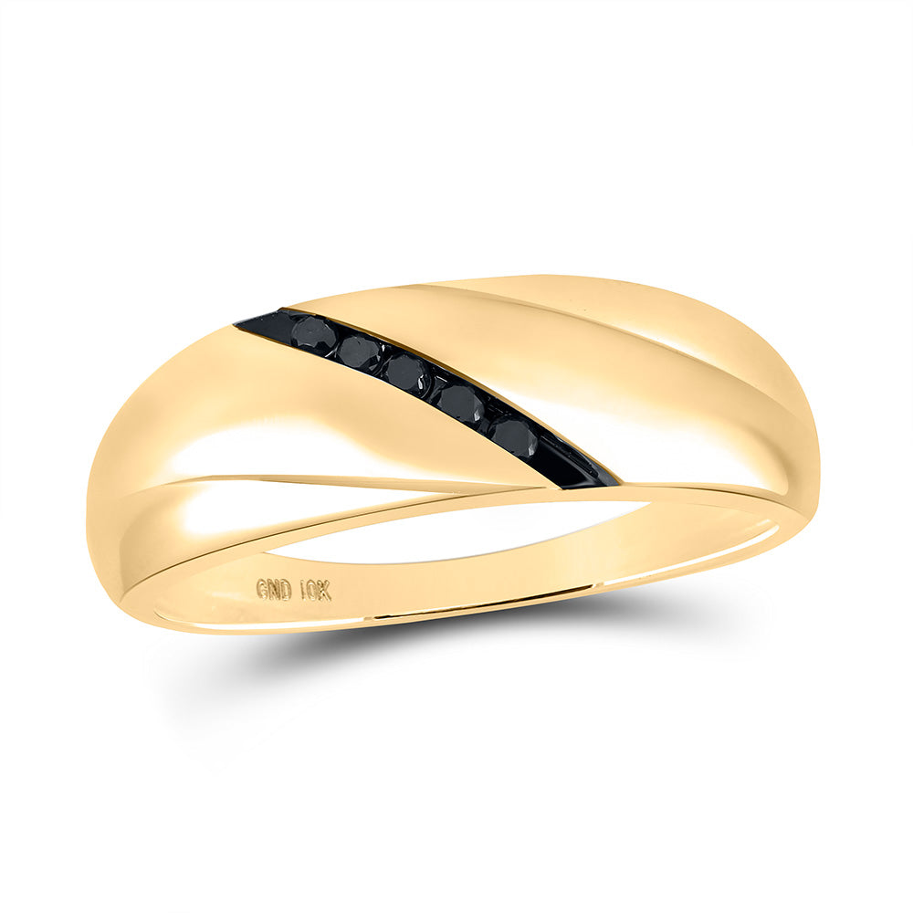 10kt Yellow Gold Mens Round Black Color Enhanced Diamond Band Ring 1/8 Cttw