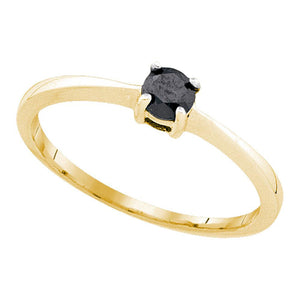 10kt Yellow Gold Womens Round Black Color Enhanced Diamond Solitaire Bridal Wedding Ring 1/4 Cttw