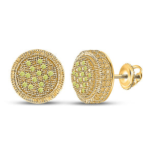 Sterling Silver Mens Round Yellow Color Enhanced Diamond Cluster Earrings 1/10 Cttw