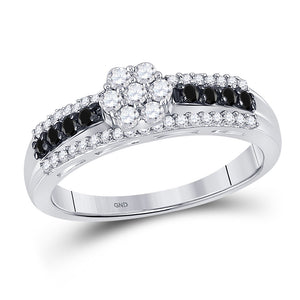10kt White Gold Womens Round Black Color Enhanced Diamond Cluster Ring 1/2 Cttw