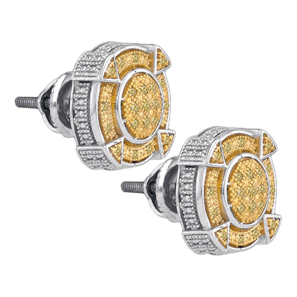 Sterling Silver Mens Round Yellow Color Enhanced Diamond Cluster Earrings 1/6 Cttw
