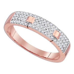 10kt Rose Gold Womens Round Diamond Pave Band Ring 1/4 Cttw