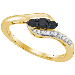 10kt Yellow Gold Womens Round Black Color Enhanced Diamond 3-stone Ring 1/4 Cttw