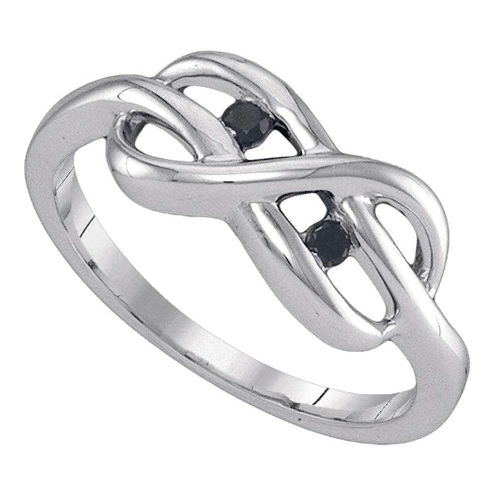 Sterling Silver Womens Round Black Color Enhanced Diamond Infinity Ring 1/20 Cttw