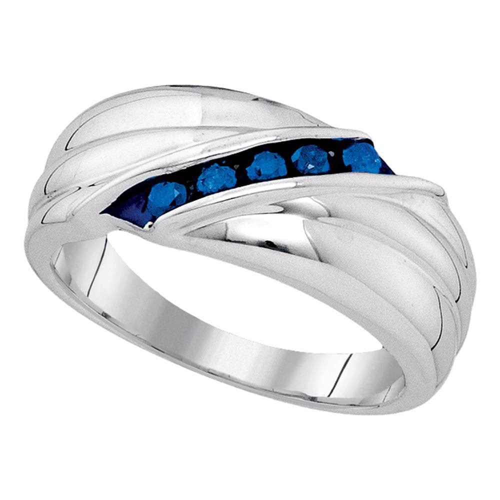 Sterling Silver Mens Round Blue Color Enhanced Diamond Wedding Anniversary Band Ring 1/3 Cttw