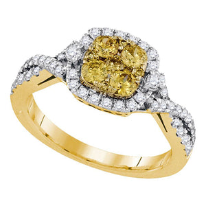 14kt Yellow Gold Womens Round Natural Canary Yellow Diamond Square Cluster Ring 1.00 Cttw