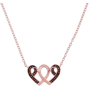 10kt Rose Gold Womens Round Red Color Enhanced Diamond Heart Necklace 1/10 Cttw