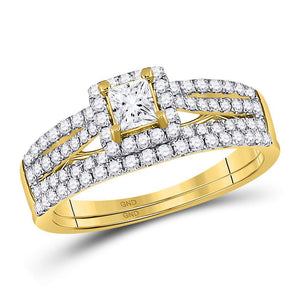 14kt Yellow Gold Princess Diamond Bridal Wedding Ring Band Set 1 Cttw