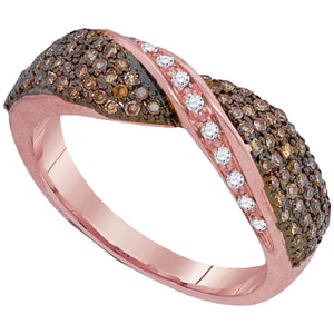 10kt Rose Gold Womens Round Brown Diamond Crossover Band 1/2 Cttw