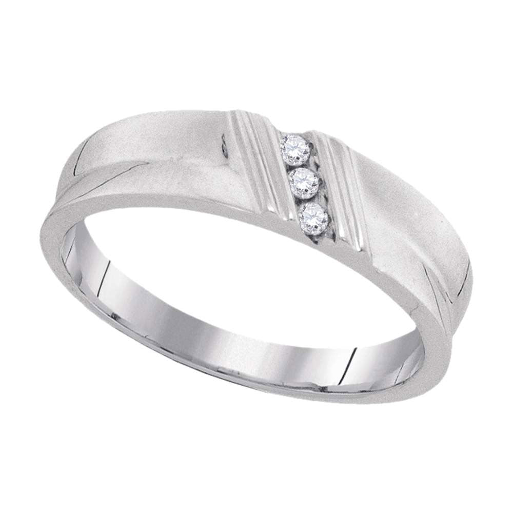 10kt White Gold Mens Round Diamond Wedding Band Ring 1/20 Cttw