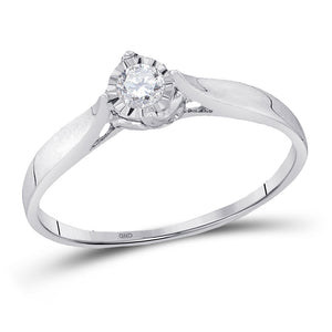 10kt White Gold Womens Round Diamond Solitaire Promise Bridal Ring 1/12 Cttw