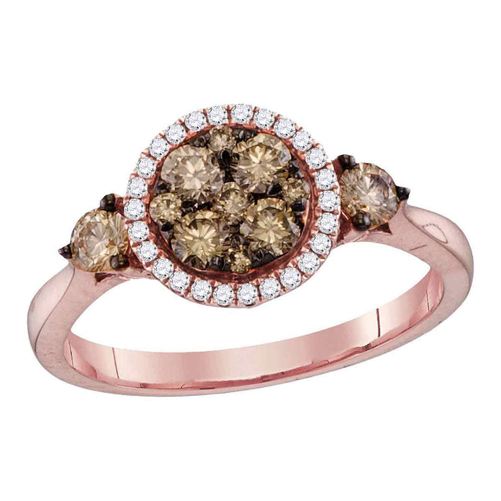14kt Rose Gold Round Brown Diamond Cluster Bridal Wedding Engagement Ring 3/4 Cttw