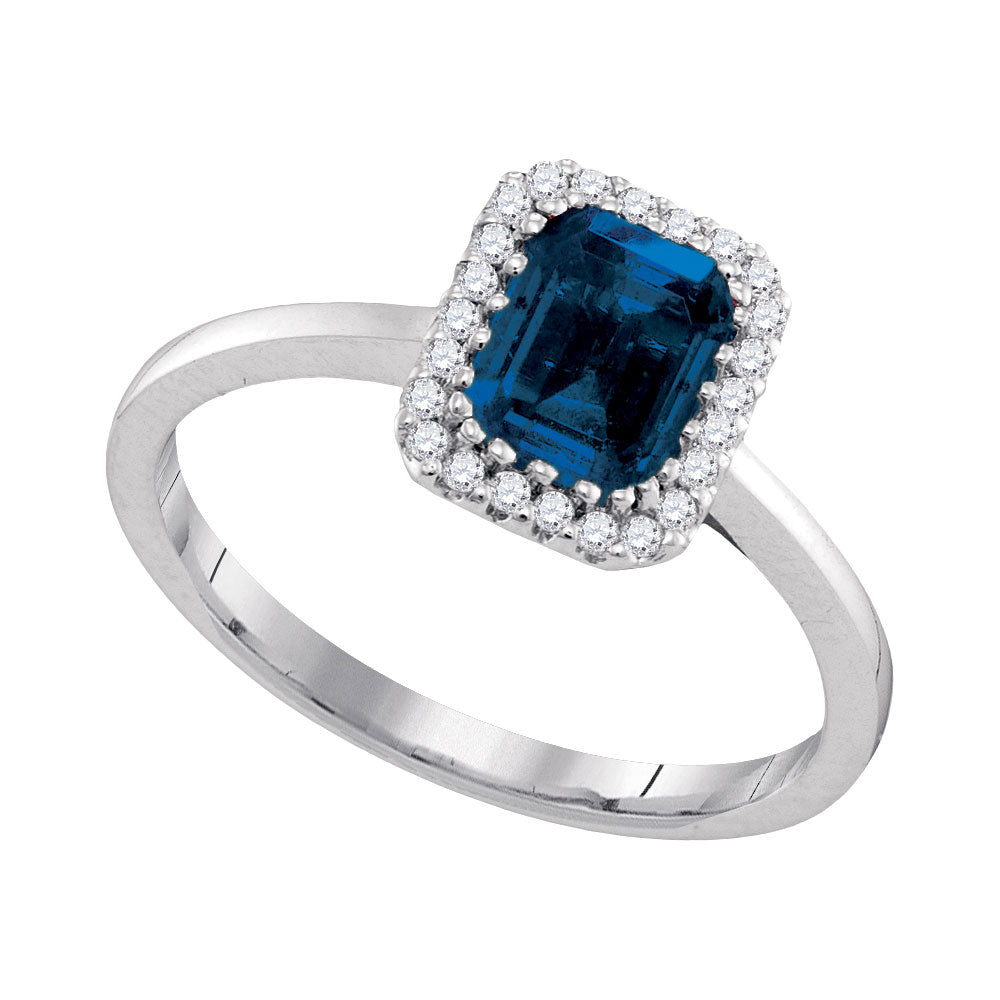 14kt White Gold Womens Blue Sapphire Solitaire Diamond Ring 1-1/5 Cttw